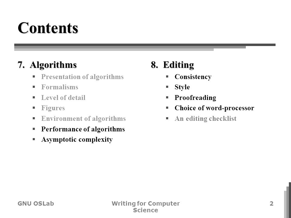 writing for computer science algorithms editing cho ho gi  writing for computer science 2 contents 7