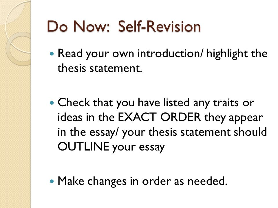 rand essay revision do now self revision your own  do now self revision your own introduction highlight the thesis statement