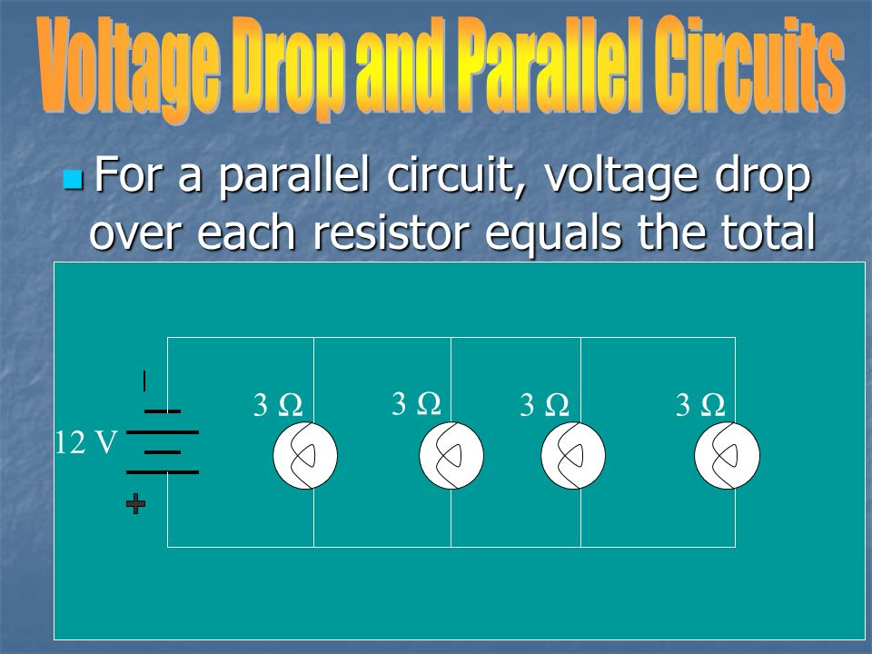 What is the current in each resistor I = V/R T I = 9 / 3 I = 3 amps