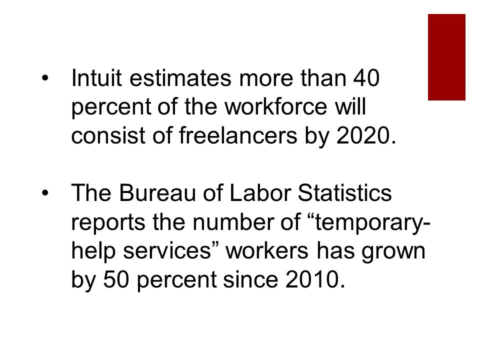 Intuit estimates more than 40 percent of the workforce will consist of freelancers by 2020.