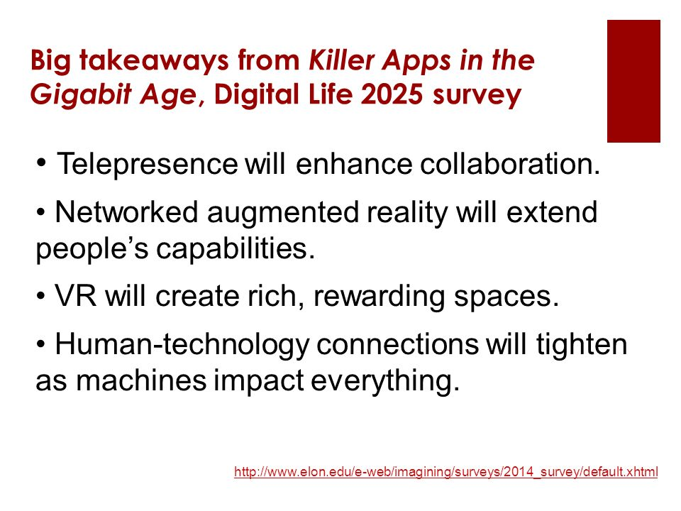 http://www.elon.edu/e-web/imagining/surveys/2014_survey/default.xhtml Big takeaways from Killer Apps in the Gigabit Age, Digital Life 2025 survey Telepresence will enhance collaboration.