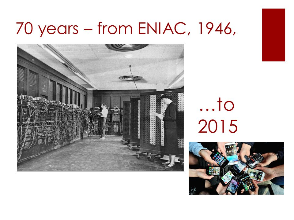 70 years – from ENIAC, 1946, …to 2015