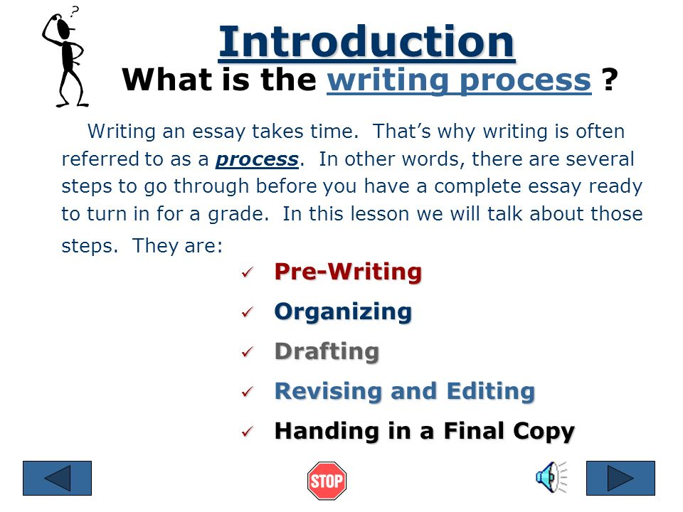 the writing process references © by ruth luman steps in  2 the writing process references © 2001 by ruth luman steps in writing an essay pre writing planning and organizing drafting revising and editing final