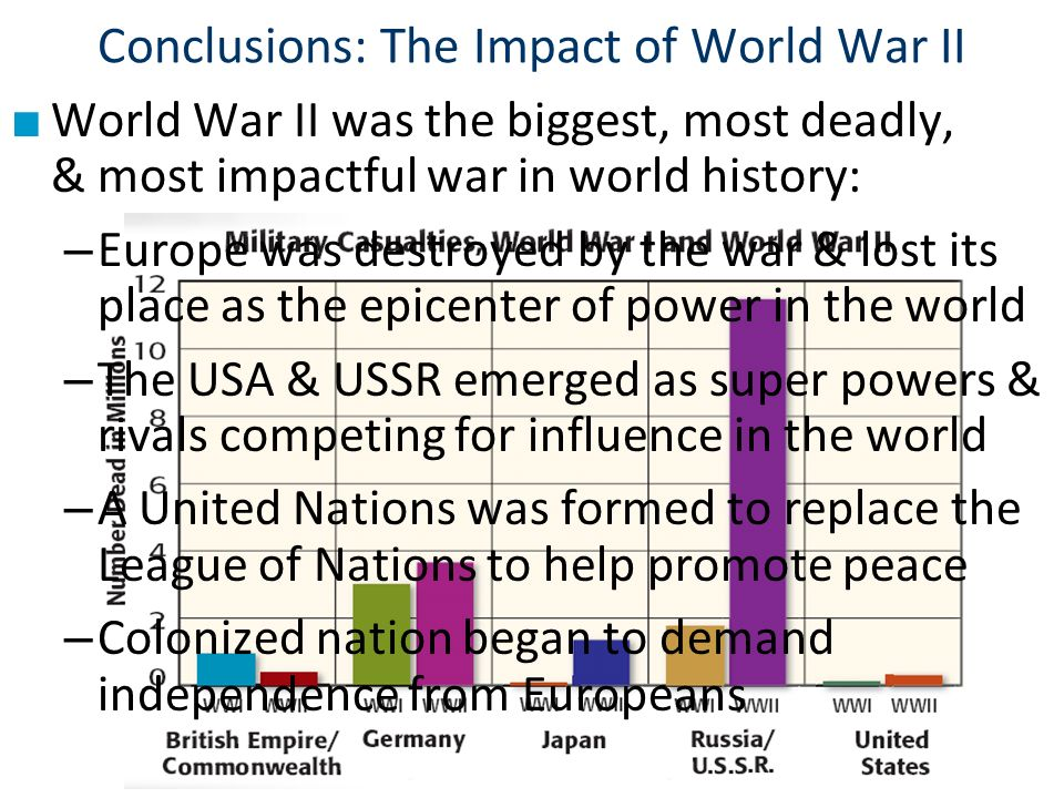 Conclusions: The Impact of World War II ■ World War II was the biggest, most deadly, & most impactful war in world history: – Europe was destroyed by the war & lost its place as the epicenter of power in the world – The USA & USSR emerged as super powers & rivals competing for influence in the world – A United Nations was formed to replace the League of Nations to help promote peace – Colonized nation began to demand independence from Europeans