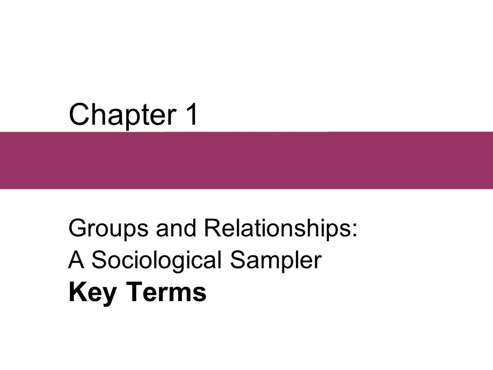 Chapter 1 Groups and Relationships: A Sociological Sampler Key Terms