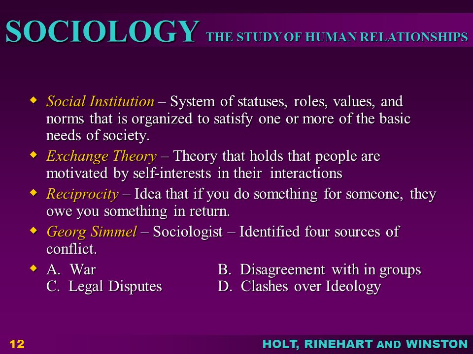 THE STUDY OF HUMAN RELATIONSHIPS SOCIOLOGY HOLT, RINEHART AND WINSTON 12  Social Institution – System of statuses, roles, values, and norms that is organized to satisfy one or more of the basic needs of society.