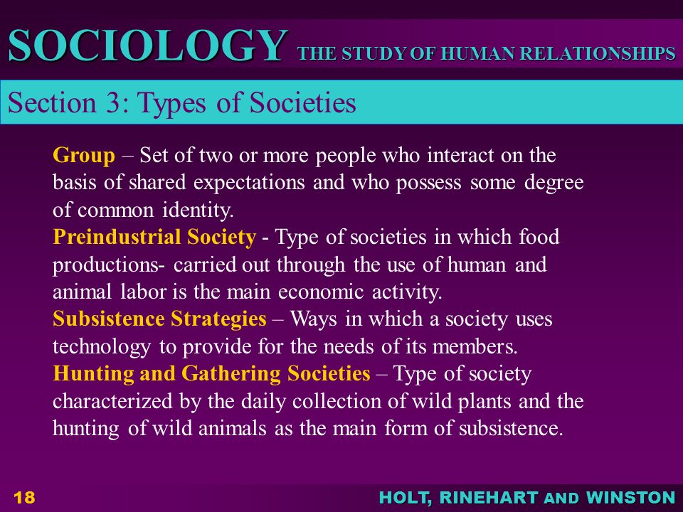THE STUDY OF HUMAN RELATIONSHIPS SOCIOLOGY HOLT, RINEHART AND WINSTON 18 Group – Set of two or more people who interact on the basis of shared expectations and who possess some degree of common identity.