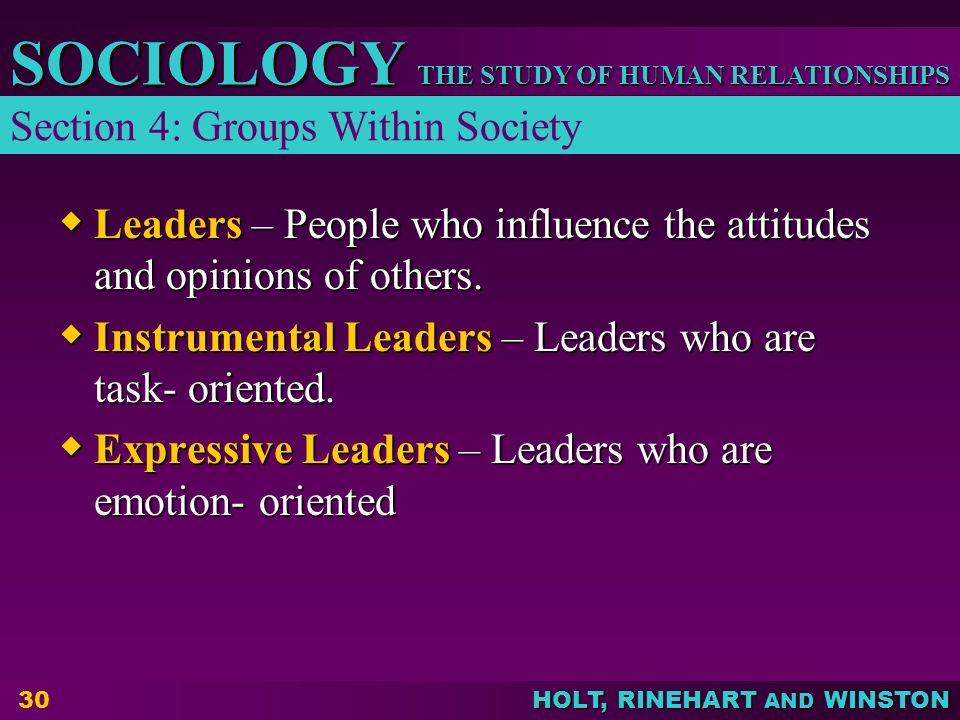 THE STUDY OF HUMAN RELATIONSHIPS SOCIOLOGY HOLT, RINEHART AND WINSTON 30  Leaders – People who influence the attitudes and opinions of others.