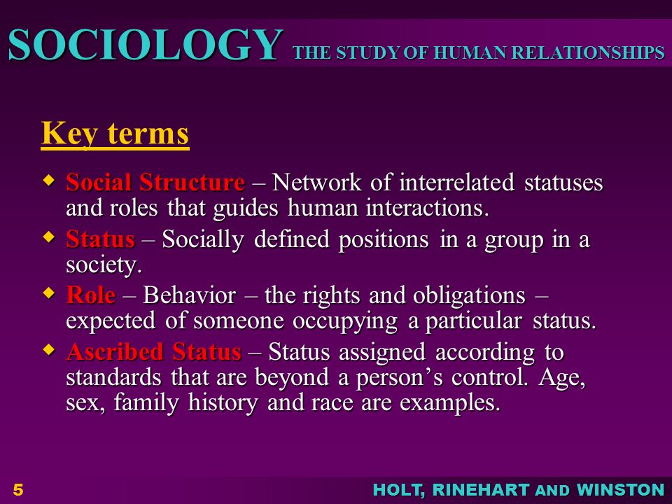 THE STUDY OF HUMAN RELATIONSHIPS SOCIOLOGY HOLT, RINEHART AND WINSTON 5 Key terms  Social Structure – Network of interrelated statuses and roles that guides human interactions.