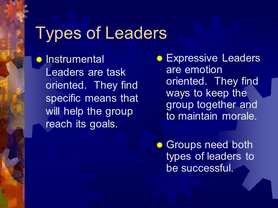 Types of Leaders  Instrumental Leaders are task oriented. They find specific means that will help the group reach its goals.  Expressive Leaders are