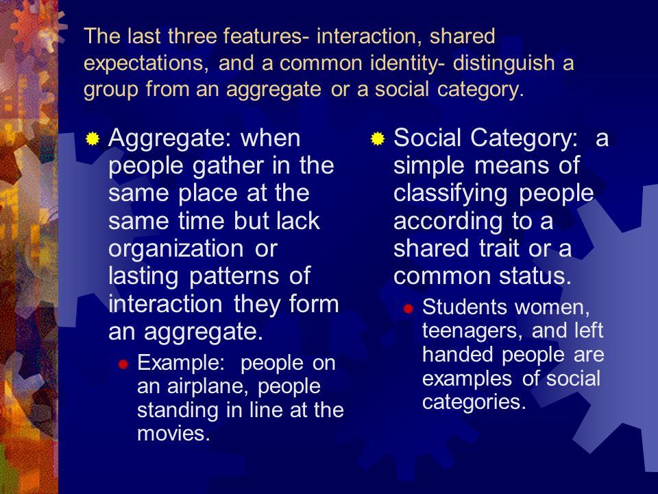 The last three features- interaction, shared expectations, and a common identity- distinguish a group from an aggregate or a social category.