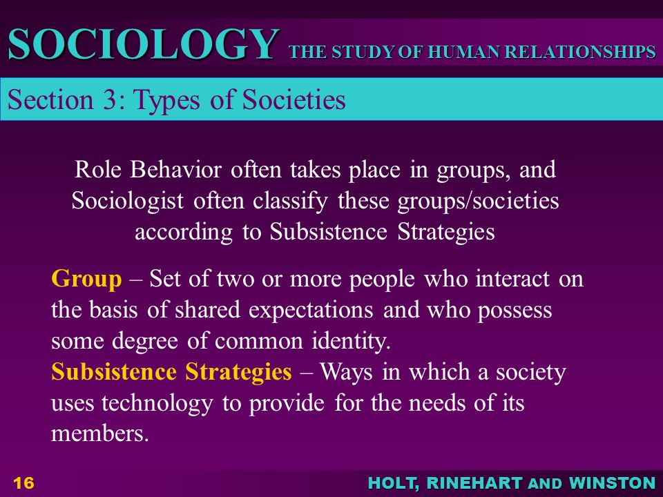 THE STUDY OF HUMAN RELATIONSHIPS SOCIOLOGY HOLT, RINEHART AND WINSTON 16 Group – Set of two or more people who interact on the basis of shared expecta