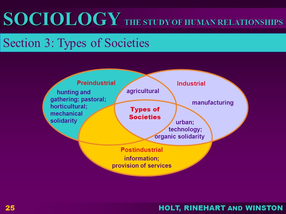 THE STUDY OF HUMAN RELATIONSHIPS SOCIOLOGY HOLT, RINEHART AND WINSTON 25 Preindustrial Industrial Postindustrial Types of Societies hunting and gather