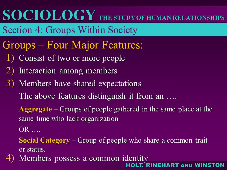 THE STUDY OF HUMAN RELATIONSHIPS SOCIOLOGY HOLT, RINEHART AND WINSTON Groups – Four Major Features: 1) Consist of two or more people 2) Interaction am