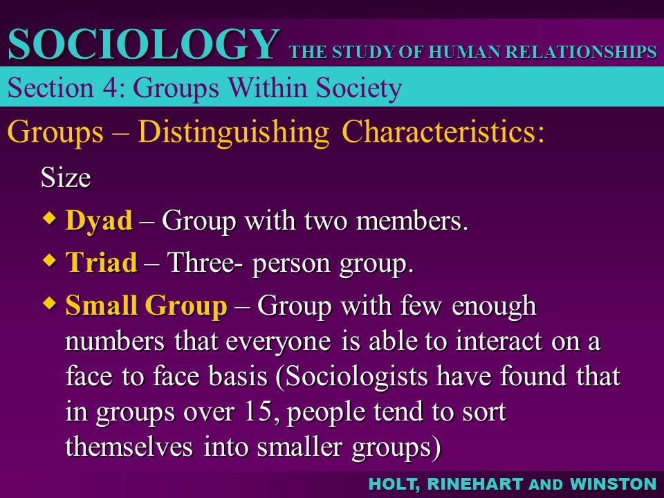 THE STUDY OF HUMAN RELATIONSHIPS SOCIOLOGY HOLT, RINEHART AND WINSTON Groups – Distinguishing Characteristics: Section 4: Groups Within Society Size 