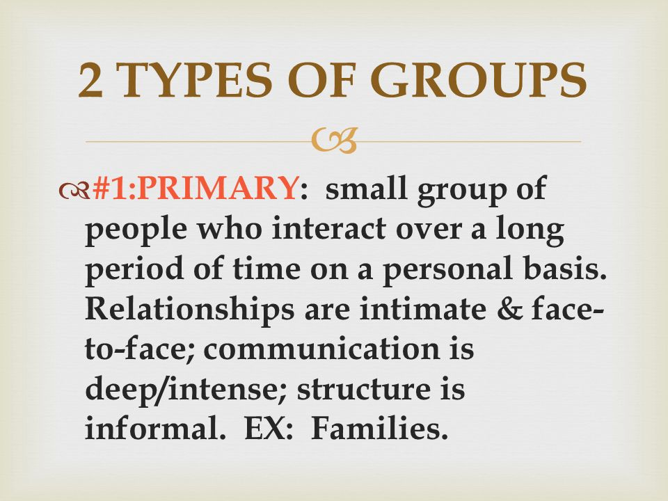   #1:PRIMARY: small group of people who interact over a long period of time on a personal basis.