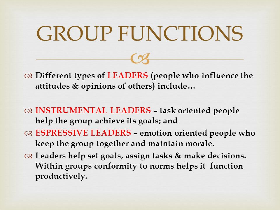   Different types of LEADERS (people who influence the attitudes & opinions of others) include…  INSTRUMENTAL LEADERS – task oriented people help the group achieve its goals; and  ESPRESSIVE LEADERS – emotion oriented people who keep the group together and maintain morale.
