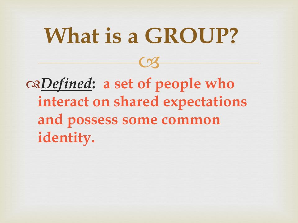   Defined : a set of people who interact on shared expectations and possess some common identity.
