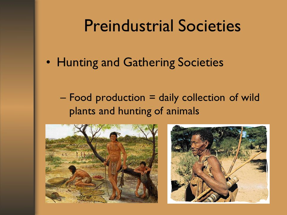 Preindustrial Societies Hunting and Gathering Societies –Food production = daily collection of wild plants and hunting of animals