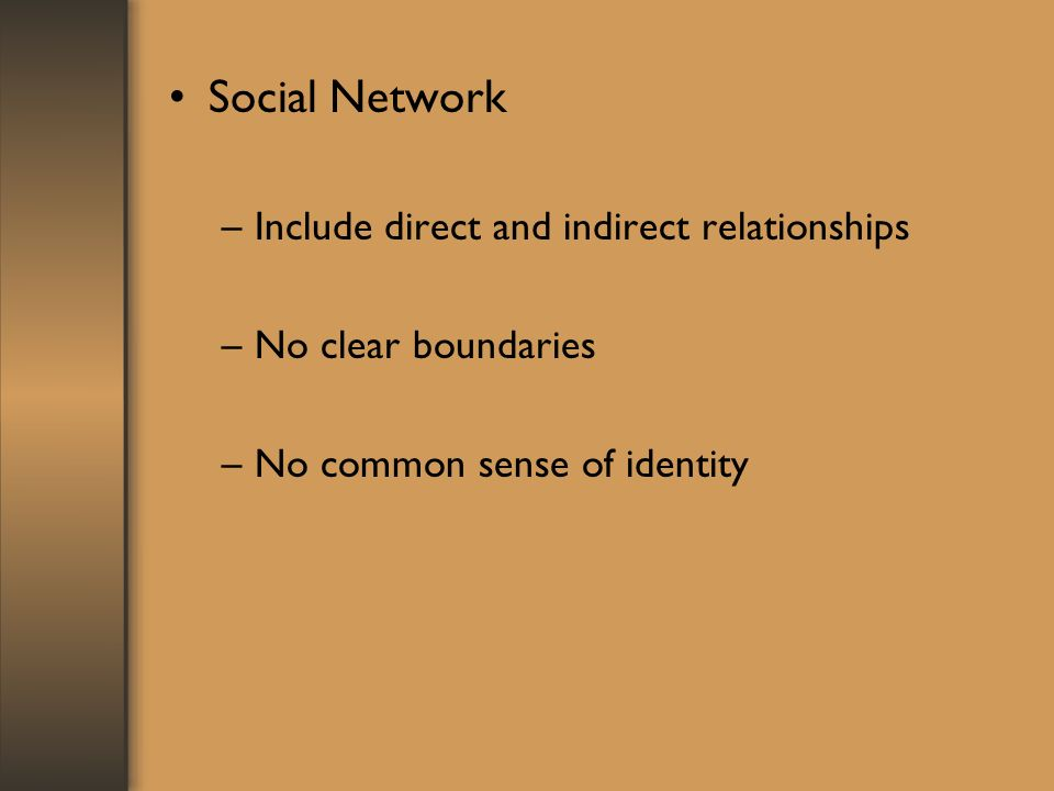 Social Network –Include direct and indirect relationships –No clear boundaries –No common sense of identity