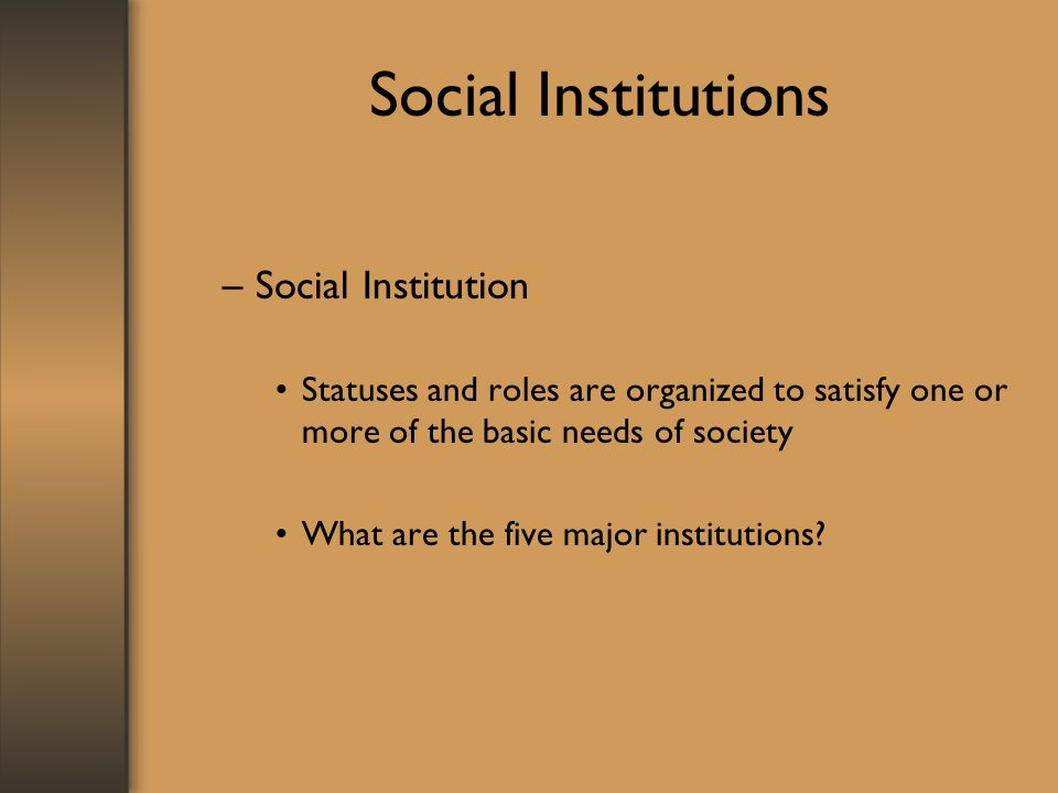 Social Institutions –Social Institution Statuses and roles are organized to satisfy one or more of the basic needs of society What are the five major