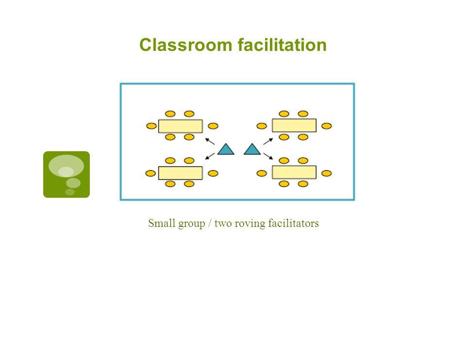 Classroom facilitation Small group / two roving facilitators