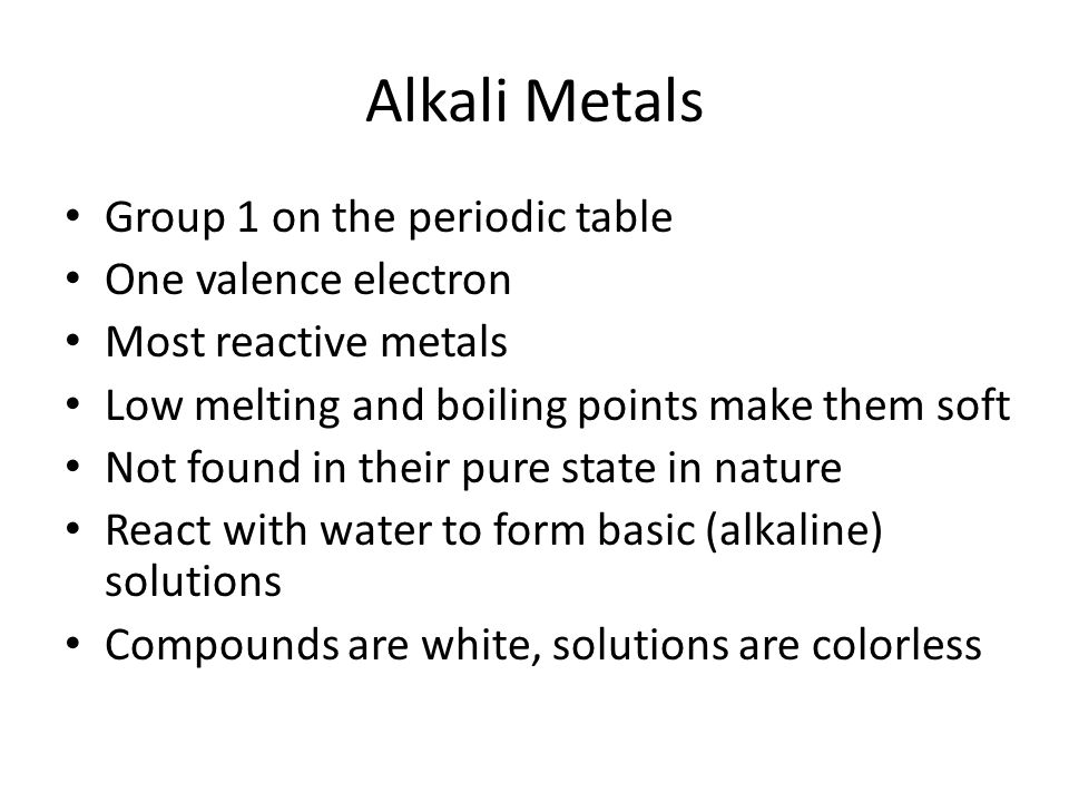 Families of elements alkali metals group 1 on the periodic table periodic table one valence electron most reactive metals low melting 9 alkali urtaz Gallery