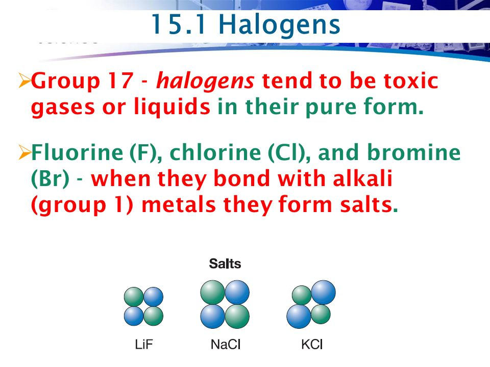 15.1 Halogens  Group 17 - halogens tend to be toxic gases or liquids in their pure form.