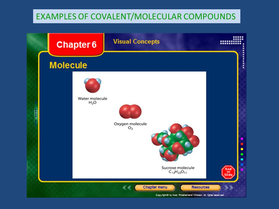 EXAMPLES OF COVALENT/MOLECULAR COMPOUNDS