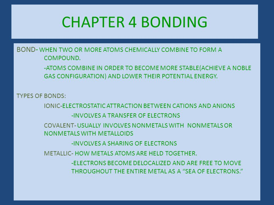 CHAPTER 4 BONDING BOND- WHEN TWO OR MORE ATOMS CHEMICALLY COMBINE TO FORM A COMPOUND.