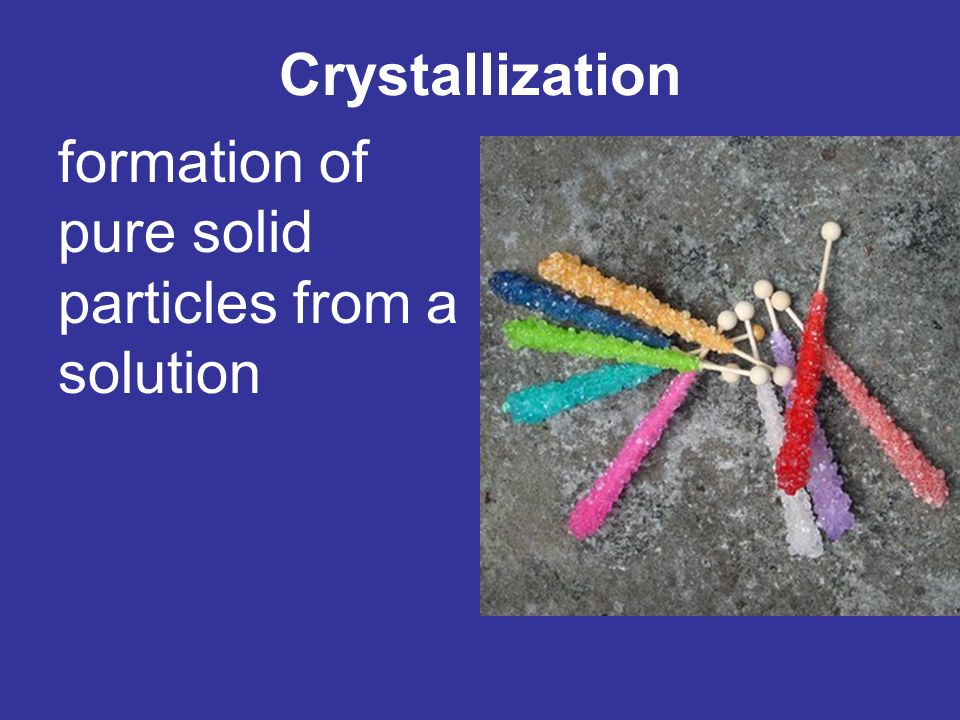 Crystallization formation of pure solid particles from a solution