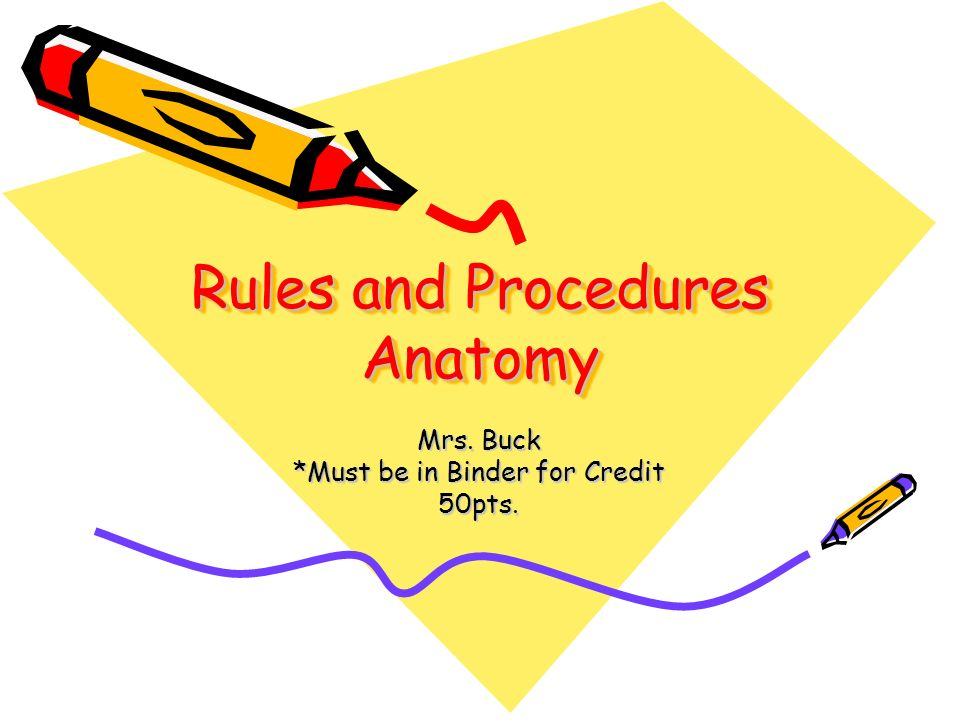 Rules and Procedures Anatomy Mrs. Buck *Must be in Binder for Credit 50pts.