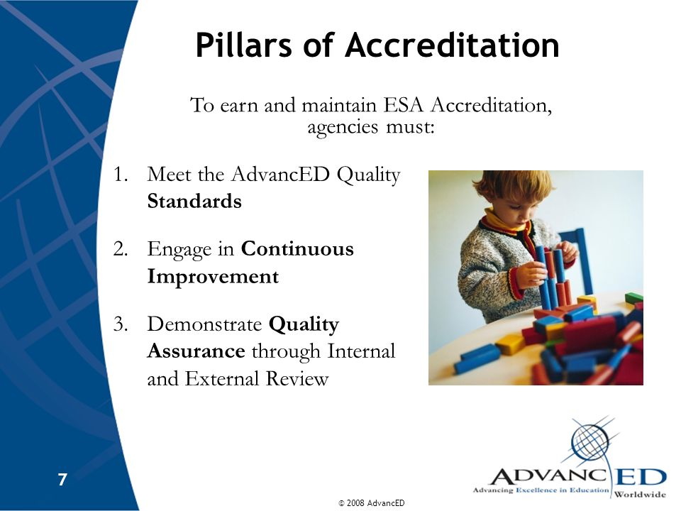 © 2008 AdvancED 7 Pillars of Accreditation 1.Meet the AdvancED Quality Standards 2.Engage in Continuous Improvement 3.Demonstrate Quality Assurance through Internal and External Review To earn and maintain ESA Accreditation, agencies must:
