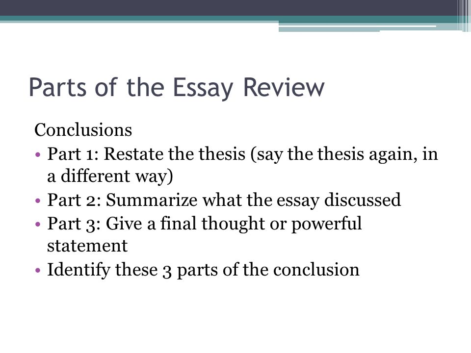 Different parts of thesis