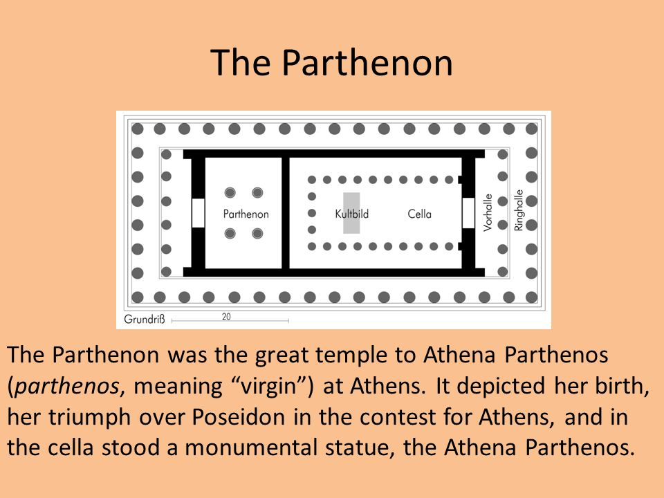 The Parthenon The Parthenon was the great temple to Athena Parthenos (parthenos, meaning virgin ) at Athens.