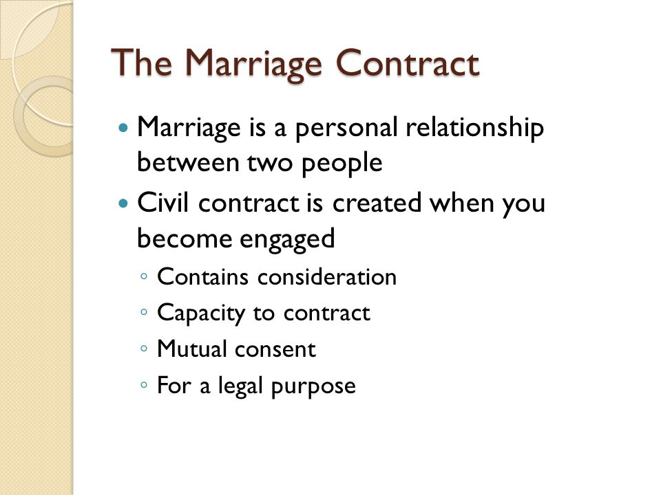 Marriage Laws Section 31 Marriage Formalities and Restrictions – Contract Between Two People