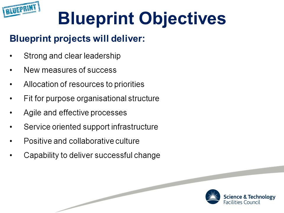 Blueprint programme overview to be design 20 may ppt download 5 blueprint projects will deliver strong and clear leadership new measures of success allocation of resources to priorities fit for purpose organisational malvernweather Images