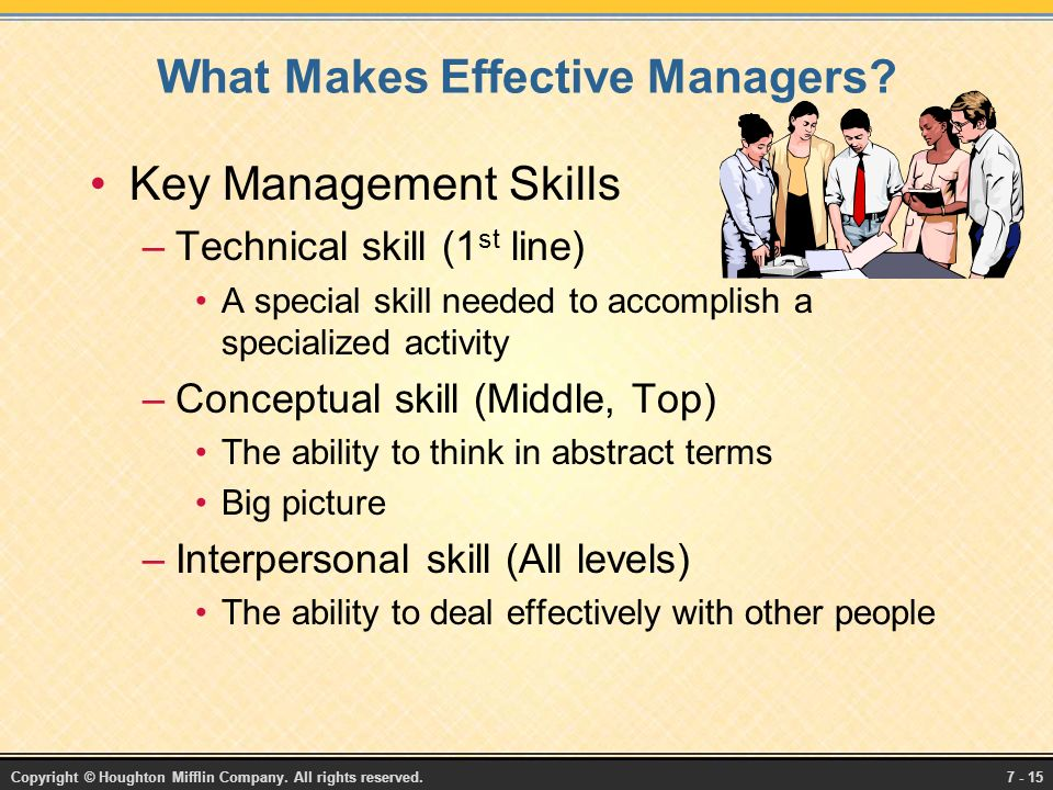 Copyright © Houghton Mifflin Company. All rights reserved.7 - 15 What Makes Effective Managers.