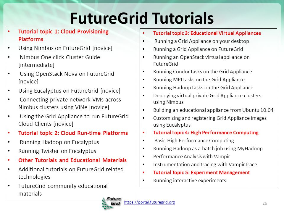 FutureGrid Tutorials Tutorial topic 1: Cloud Provisioning Platforms Using Nimbus on FutureGrid [novice] Nimbus One-click Cluster Guide [intermediate] Using OpenStack Nova on FutureGrid [novice] Using Eucalyptus on FutureGrid [novice] Connecting private network VMs across Nimbus clusters using ViNe [novice] Using the Grid Appliance to run FutureGrid Cloud Clients [novice] Tutorial topic 2: Cloud Run-time Platforms Running Hadoop on Eucalyptus Running Twister on Eucalyptus Other Tutorials and Educational Materials Additional tutorials on FutureGrid-related technologies FutureGrid community educational materials Tutorial topic 3: Educational Virtual Appliances Running a Grid Appliance on your desktop Running a Grid Appliance on FutureGrid Running an OpenStack virtual appliance on FutureGrid Running Condor tasks on the Grid Appliance Running MPI tasks on the Grid Appliance Running Hadoop tasks on the Grid Appliance Deploying virtual private Grid Appliance clusters using Nimbus Building an educational appliance from Ubuntu Customizing and registering Grid Appliance images using Eucalyptus Tutorial topic 4: High Performance Computing Basic High Performance Computing Running Hadoop as a batch job using MyHadoop Performance Analysis with Vampir Instrumentation and tracing with VampirTrace Tutorial Topic 5: Experiment Management Running interactive experiments 26