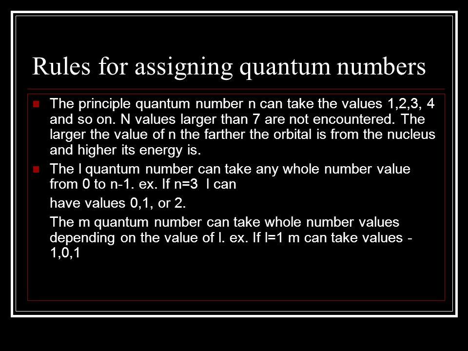 Assigning quantum numbers