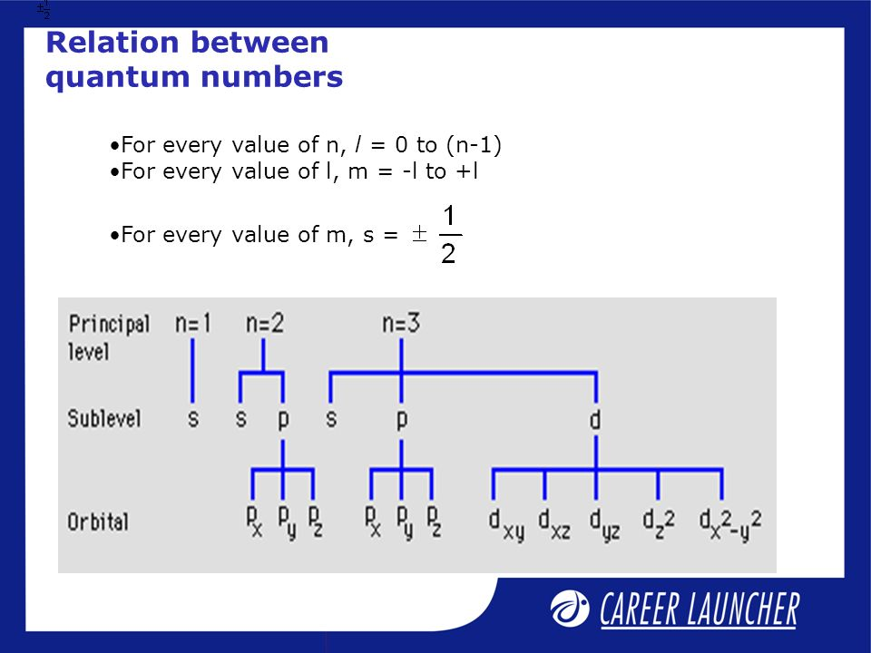 Relation between quantum numbers For every value of n, l = 0 to (n-1) For every value of l, m = -l to +l For every value of m, s =
