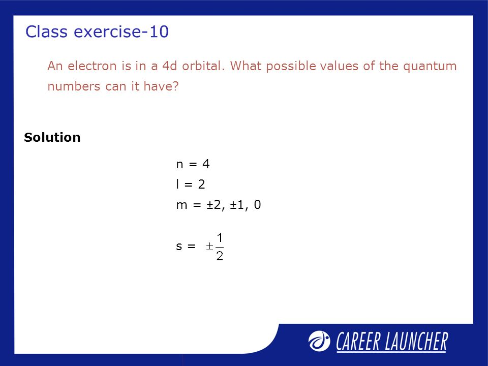 Class exercise-10 Solution An electron is in a 4d orbital.