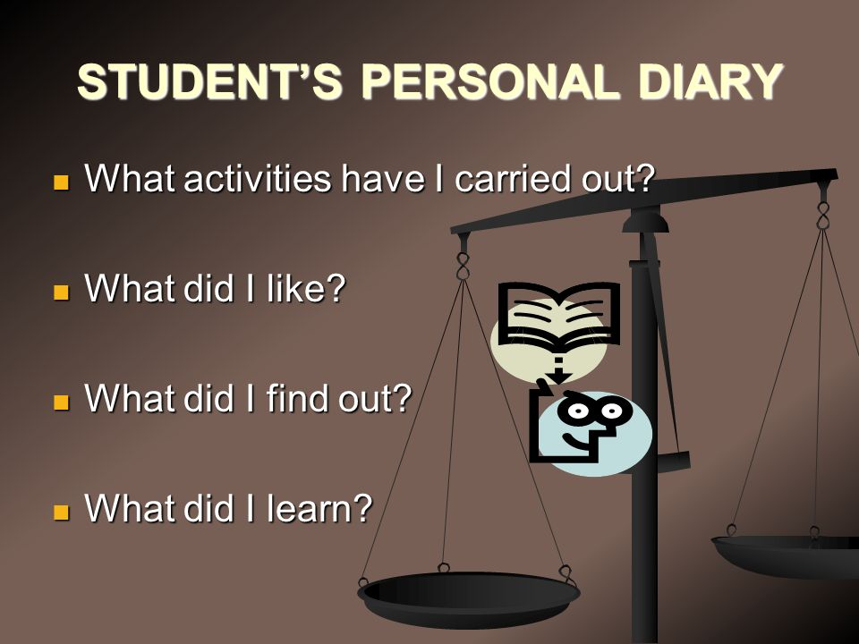 STUDENT'S PERSONAL DIARY What activities have I carried out.