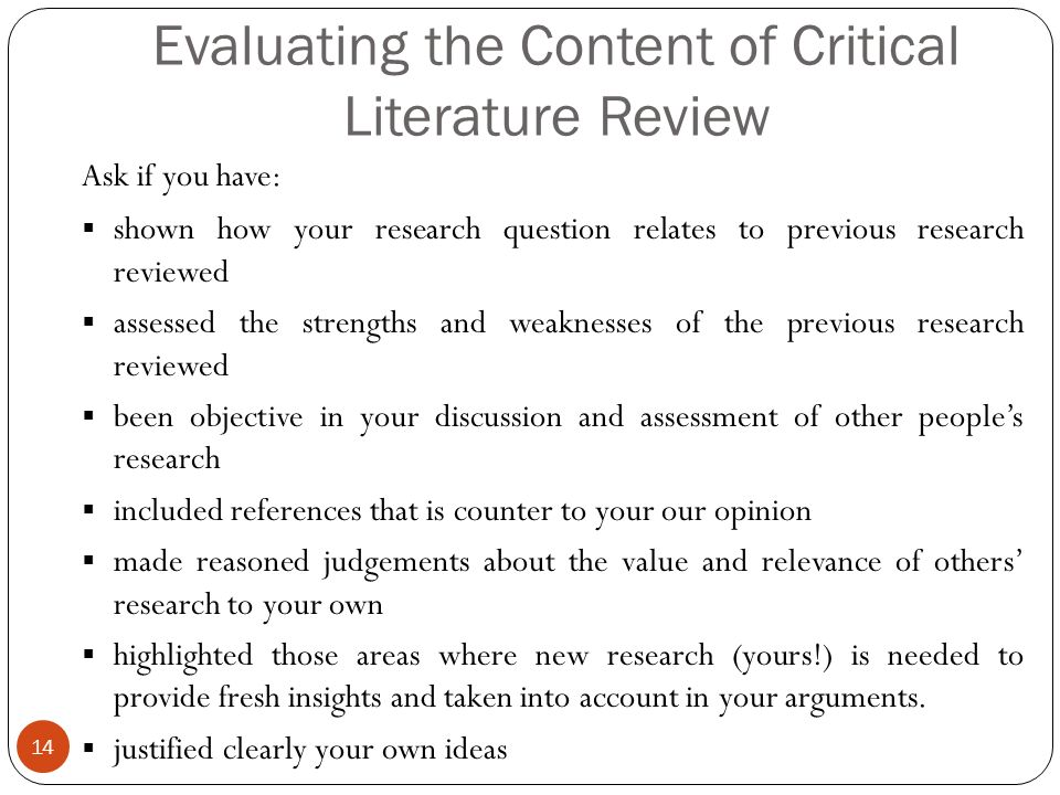 Content of literature review