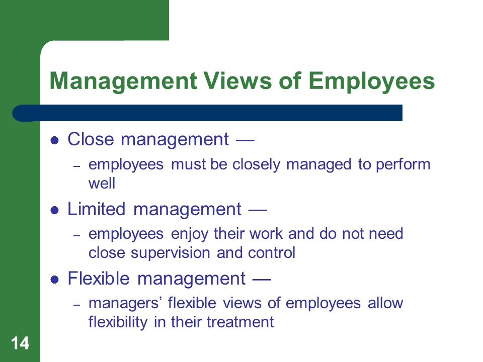 14 Management Views of Employees Close management — – employees must be closely managed to perform well Limited management — – employees enjoy their w