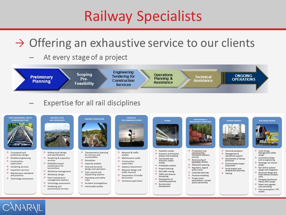 Railway Specialists  Offering an exhaustive service to our clients – At every stage of a project – Expertise for all rail disciplines Preliminary Planning Scoping Pre- Feasibility Engineering Tendering for Construction Services Operations Planning & Assistance Technical Assistance ONGOING OPERATIONS