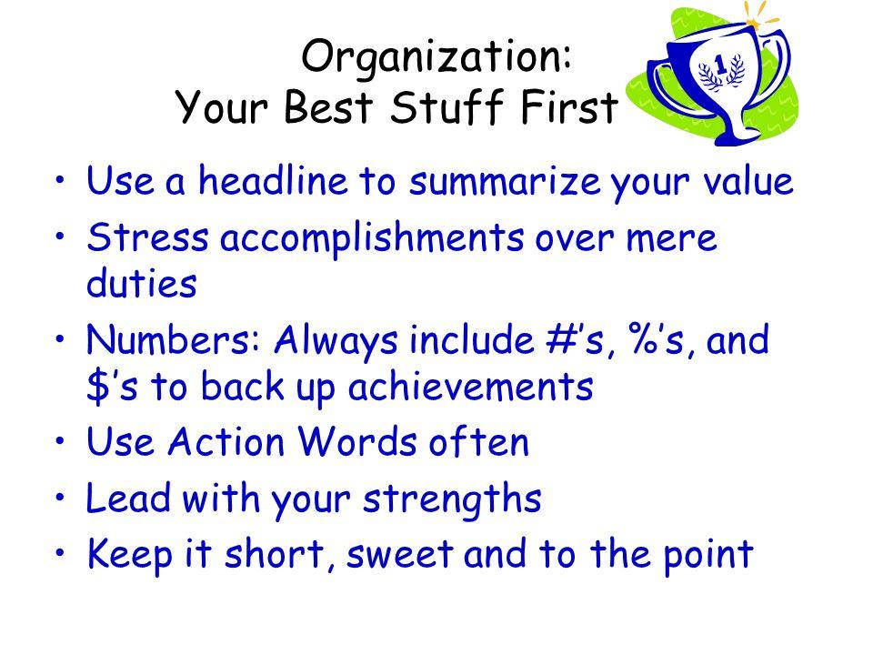 5 organization your - Summarize Your Achievements