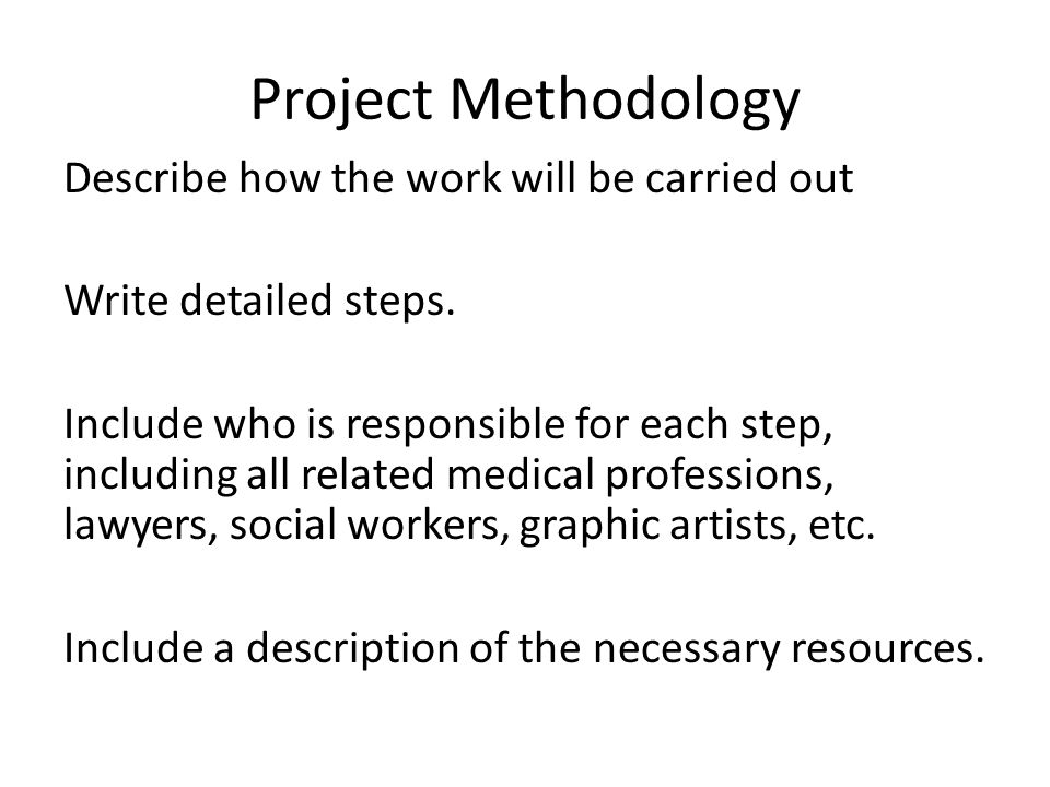 How to write a project methodology