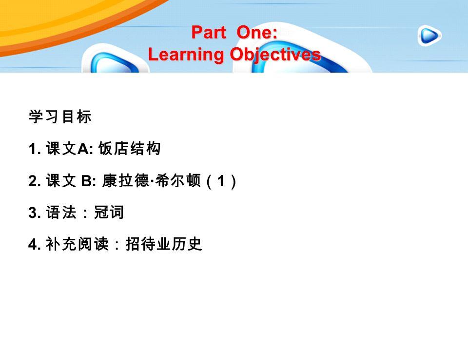 Part One: Learning Objectives 学习目标 1. 课文 A: 饭店结构 2. 课文 B: 康拉德 · 希尔顿( 1 ) 3. 语法:冠词 4. 补充阅读:招待业历史