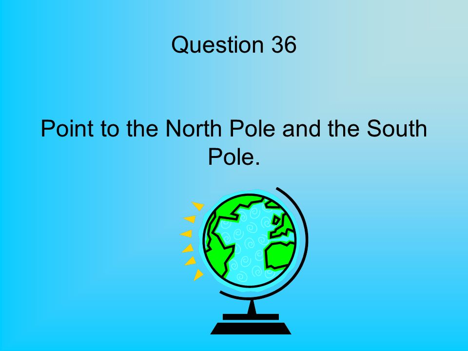 Question 36 Point to the North Pole and the South Pole.